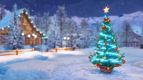 Arbre de Noël dans le village alpin la nuit hiver de chutes de neige illustration stock