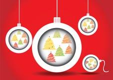 Arbre de Noël de boules de Noël Photographie stock