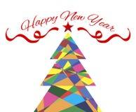 Arbre de Noël de carte de bonne année Photo libre de droits