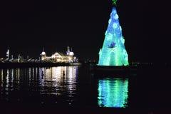 Arbre de Noël de Geelong se reflétant brillamment Image stock