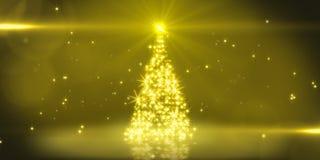 Arbre de Noël de lumière jaune Image stock