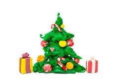 Arbre de Noël de pâte à modeler photos libres de droits