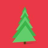 Arbre de Noël de vert de nouvelle année au-dessus de fond rouge Image libre de droits