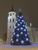 Arbre de Noël de ville, Vilnius Lithuanie Photographie stock libre de droits