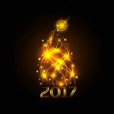 Arbre de Noël des bandes La lueur jaune chaude des lumières Célébration 2017 Illustration de vecteur Photo libre de droits
