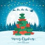 Arbre de Noël des cadeaux sur le fond d'hiver illustration stock