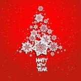 Arbre de Noël des flocons de neige sur le rouge illustration libre de droits