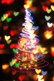 Arbre de Noël des lumières de couleur Photographie stock