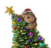 Arbre de Noël drôle d'écureuil illustration de vecteur