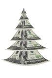 Arbre de Noël effectué à partir des dollars de centaines Photos libres de droits