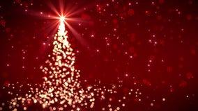 Arbre de Noël en baisse rouge de lumières illustration stock
