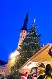 Arbre de Noël en fonction Images stock