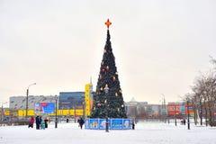 Arbre de Noël en parc de ville Photo libre de droits