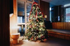 Arbre de Noël et affichage décorés de Menorah images libres de droits