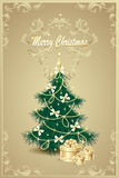 Arbre de Noël et arcs de cadeaux, cloche, étoiles, garlan illustration de vecteur