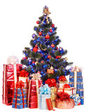 Arbre de Noël et boîte-cadeau de groupe. Photo stock