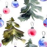 Arbre de Noël et boules de cristmas Images libres de droits