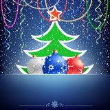 Arbre de Noël et carte de babiole Images stock