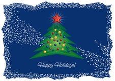 Arbre de Noël et carte de voeux d'étoile de diamant illustration de vecteur