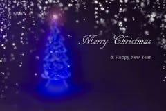 Arbre de Noël et carte de voeux de nouvelle année Image stock