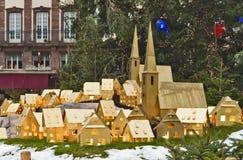 Arbre de Noël et maquette de ville Image libre de droits