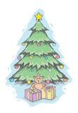 Arbre de Noël et ours de nounours Images libres de droits
