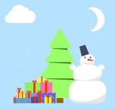 Arbre de Noël et piles des présents dessous Photos stock