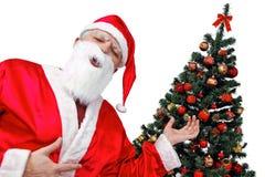 Arbre de Noël et Santa - orientation sur le xmastree Photographie stock libre de droits