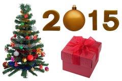 Arbre de Noël et 2015 sur d'isolement Photo stock