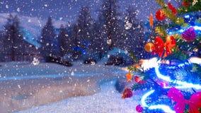 Arbre de Noël extérieur à la fin de nuit d'hiver vers le haut de 4K illustration de vecteur