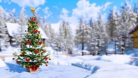 Arbre de Noël extérieur sur le fond brouillé d'hiver illustration libre de droits