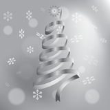 Arbre de Noël fait de rubans argentés Photographie stock