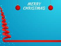 Arbre de Noël fait en ruban rouge sur le fond lumineux Images libres de droits