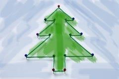 Arbre de Noël fait de goupilles et fils image libre de droits
