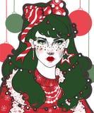 Arbre de Noël de fille de Noël de nouvelle année images libres de droits