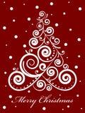Arbre de Noël fleuri sur le fond rouge Images libres de droits