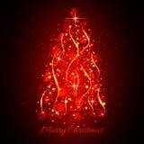 Arbre de Noël léger rougeoyant abstrait Rouge de fond de Noël Image libre de droits