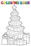 Arbre de Noël de livre de coloriage et cadeaux 2 illustration stock