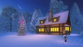 Arbre de Noël lumineux et maison rustique la nuit illustration libre de droits