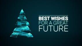 Arbre de Noël moderne et grand futur message de salutations de saison de souhaits sur le fond bleu Vacances animées élégantes illustration libre de droits
