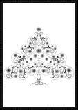 Arbre de Noël noir de filigrane avec des flocons de neige et des perles Photos libres de droits