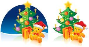 Arbre de Noël, ours, présent illustration stock