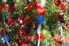 Arbre de Noël patriotique à Fort Myers, la Floride, Etats-Unis Photographie stock