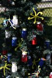 Arbre de Noël patriotique à Fort Myers, la Floride, Etats-Unis photos libres de droits