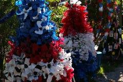 Arbre de Noël patriotique à Fort Myers, la Floride, Etats-Unis images stock