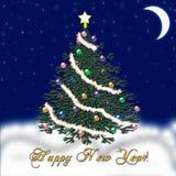 Arbre de Noël pendant la nouvelle année Neige en baisse félicitation Images libres de droits