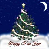Arbre de Noël pendant la nouvelle année Neige en baisse félicitation Photo stock