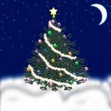 Arbre de Noël pendant la nouvelle année Neige en baisse félicitation Image libre de droits