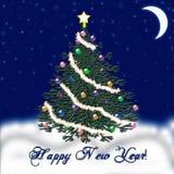 Arbre de Noël pendant la nouvelle année Neige en baisse félicitation Photo libre de droits