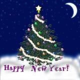 Arbre de Noël pendant la nouvelle année Neige en baisse félicitation Photos libres de droits